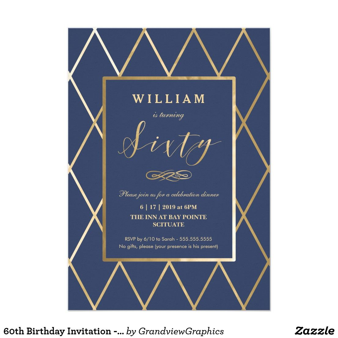 60th birthday invitation gold elegant trendy pinterest 60th 60th birthday invitation gold elegant trendy stopboris Gallery