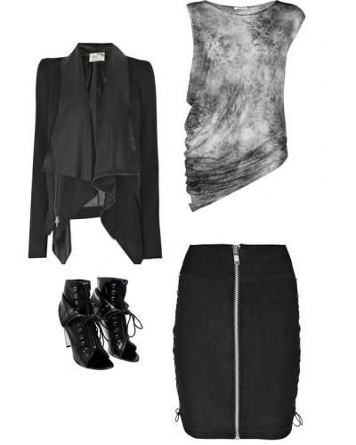 Rock Chick Style!!!    This look is great for ladies who might be self conscious about their tummy area.  The ruching on the marbled top hides any lady lumps and the jacket is a loose fit too for those who don't like the restriction of tight fitting clothes.