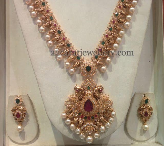 Jewellery Designs Nakshi Finish Mango Chain with CZs Indian