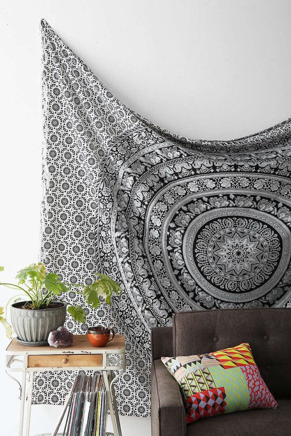 Black and Gray Ombre Mandala Twin Tapestry Hippie Wall Hanging Gypsy Wall Art