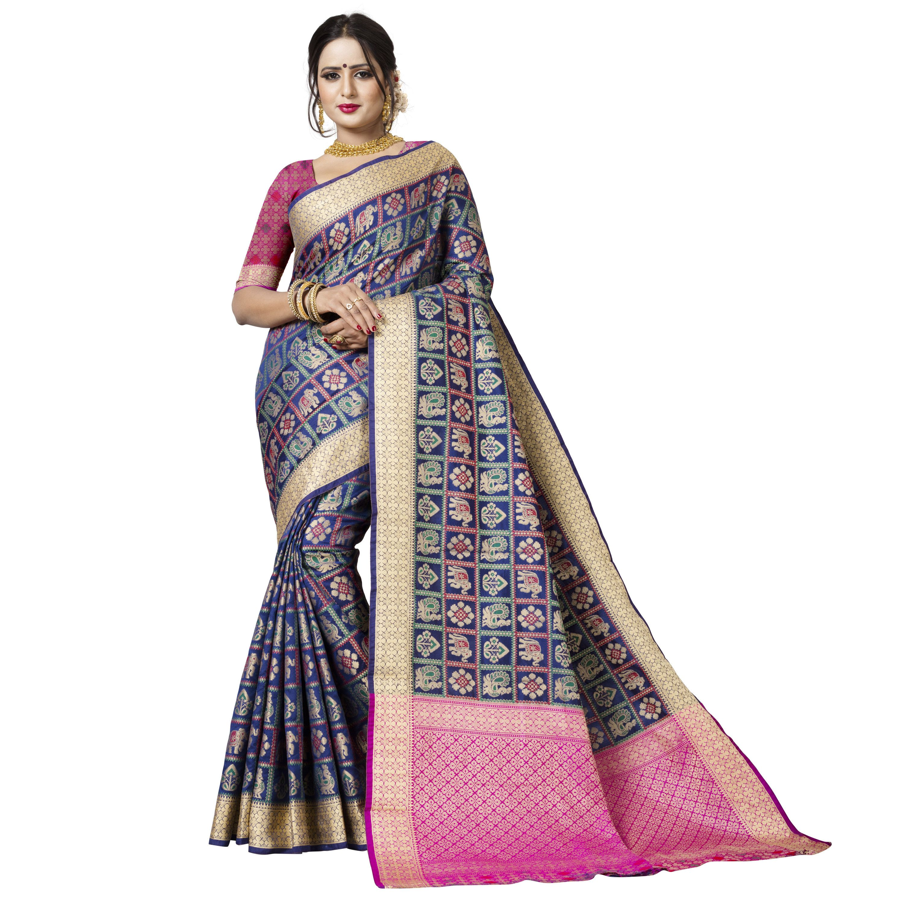 d56adceb595bb4 Blue Silk Blend Patola Designer Saree With Unstitched Blouse Material  online.