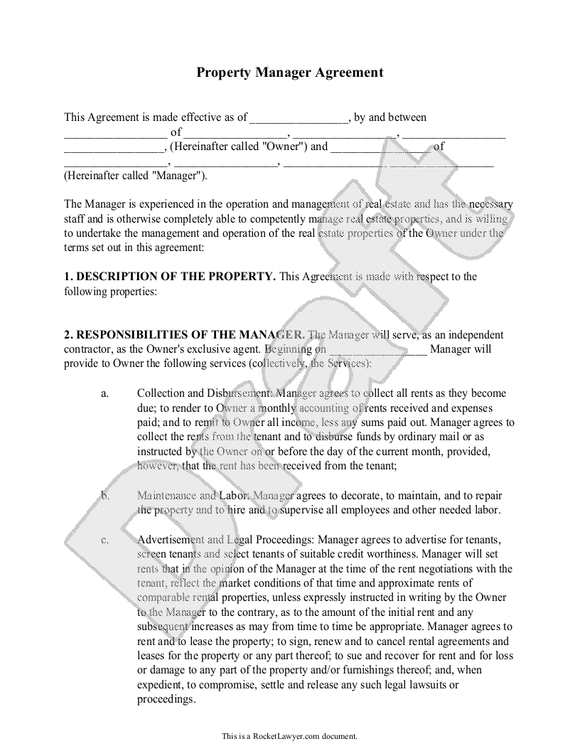 Sample Property Manager Agreement Form Template  Property