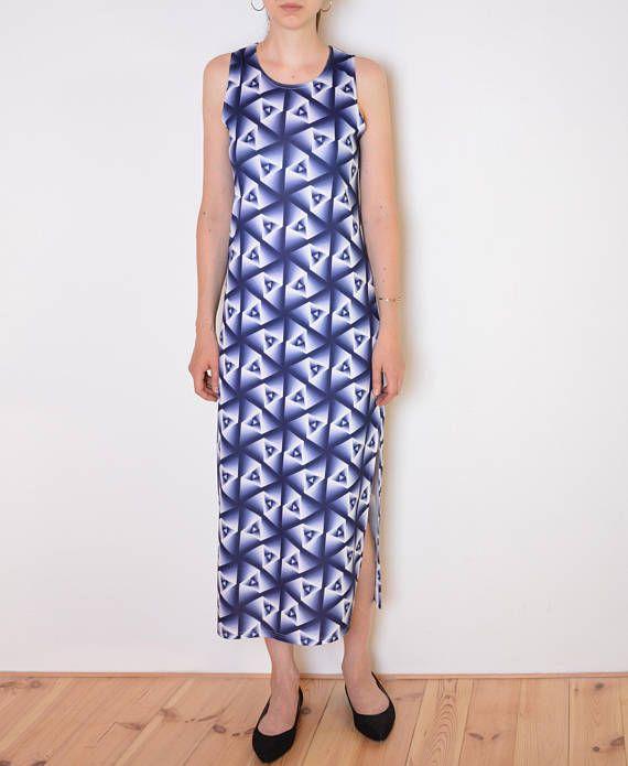 e2a90dc1dc261 90's hypnotic print lycra dress, long maxi midi dress, blue white ...