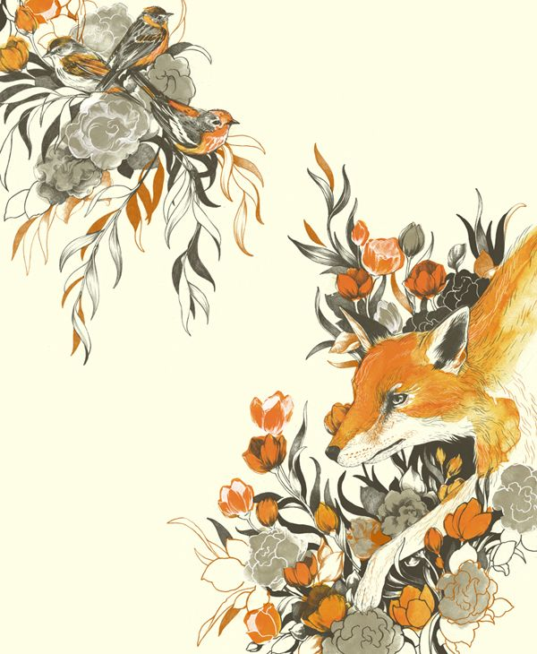 A fox and some warblers, camouflaged.  graphite, ink, watercolor and Photoshop CS5