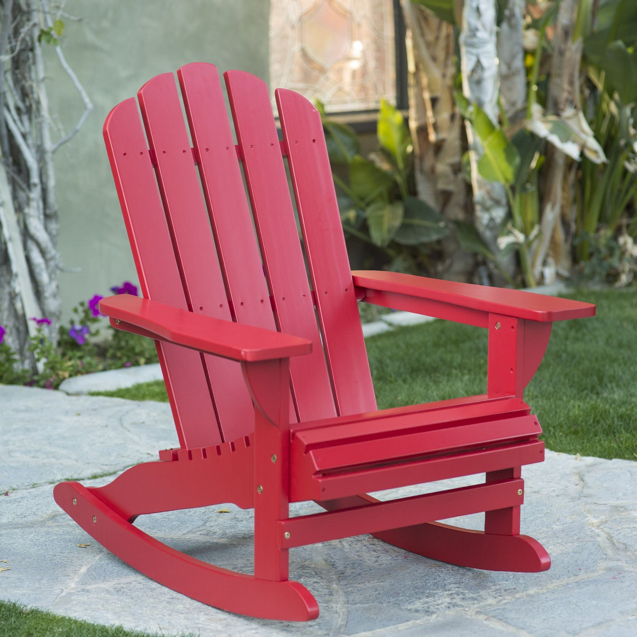 Shoreline Wood Adirondack Rocker Patio / Porch Chair   Red   Crafted Of  Environmentally Friendly