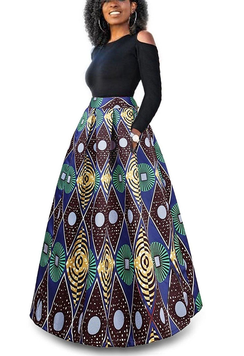 92d3ba6c89 Women's African Floral Print A Line Long Skirt Pockets Two Pieces Maxi  Dress #ad #africanfashion #africanprinted