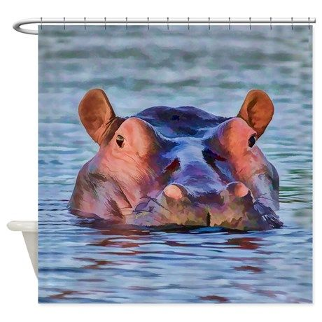 Bathing Beauty Hippo Shower Curtain On CafePress