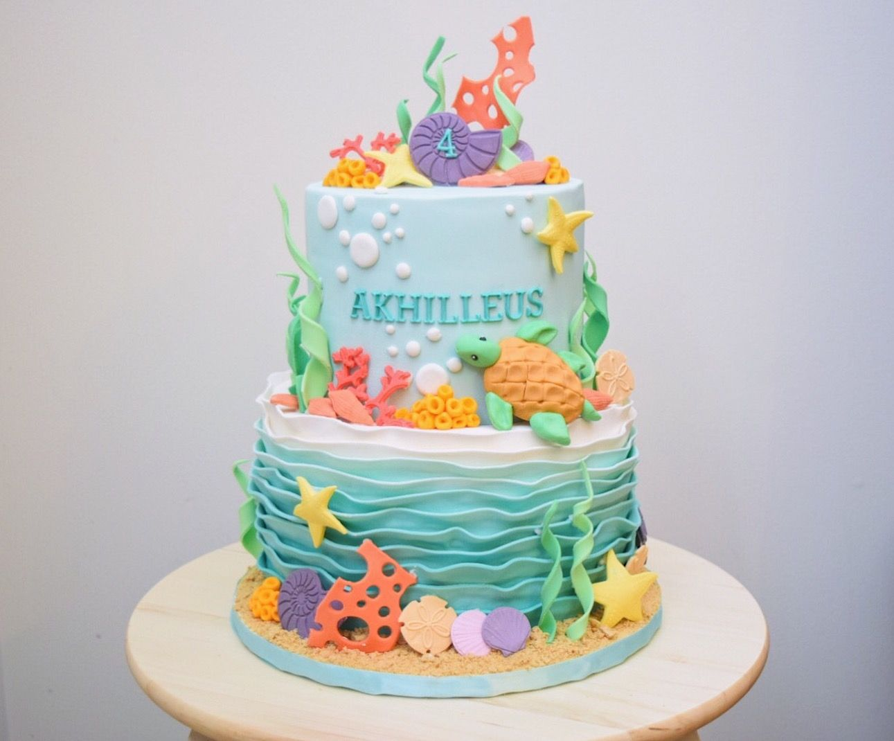 My Take On An Under The Sea Themed Cake With Images Ocean Birthday Cakes Ocean Cakes Cake