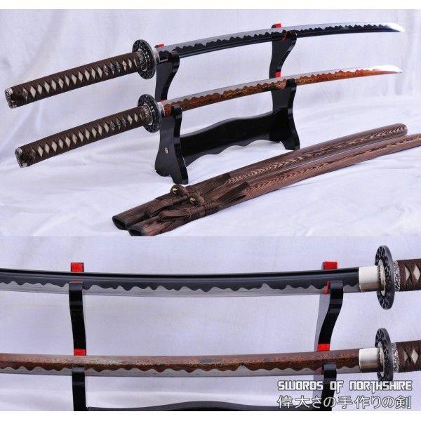 1095 High Carbon Steel Black Blade And Red Folded Steel Samurai Katana Sword Set Katana Swords Katana Samurai Swords