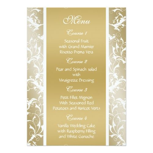 Damask Wedding Menu Gold Wedding Menu Card  Damask Wedding
