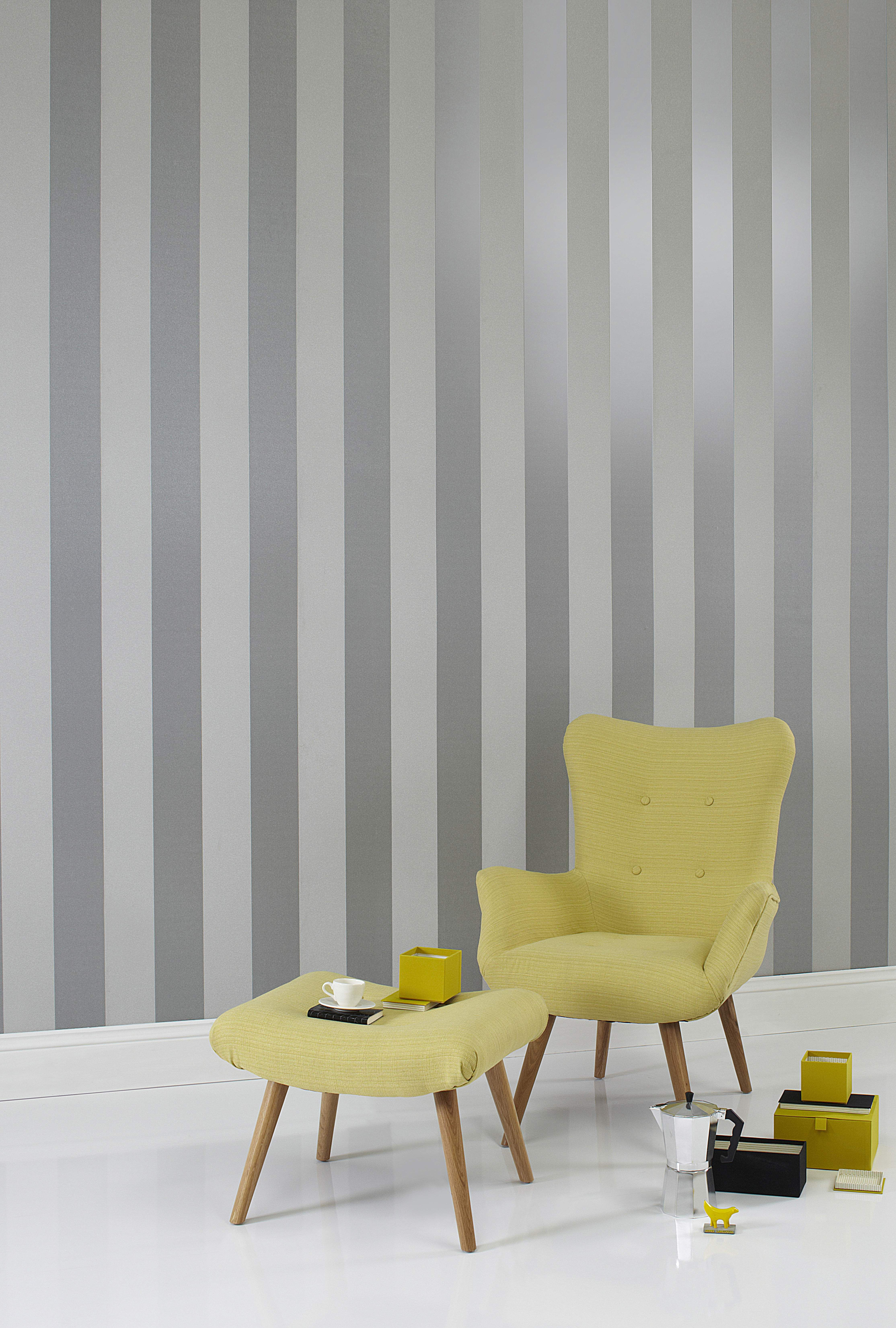 Metallic Stripes And Tuxtural Grit Effects Make A Statement Wallpaper