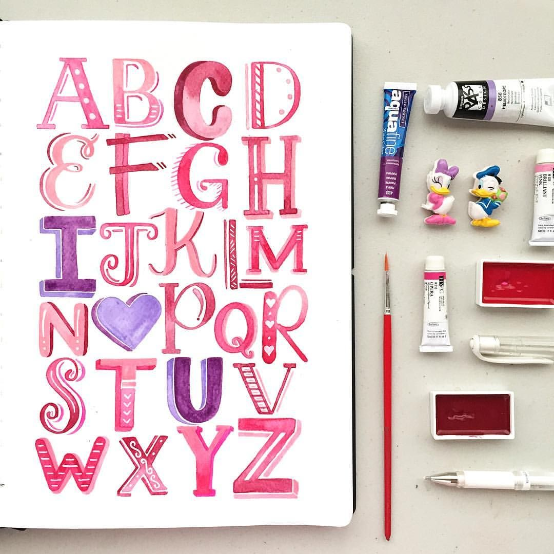 Pinks, purples, & hearts because it's February!  #abcs_alphabet #handletteredabcs || Come up with your own handlettered/calligraphed alphabet on our workshop this Feb. 6 at Cafe Shibuya, UP Town Center. You can still sign up via the link on our profile! Hope you see you there