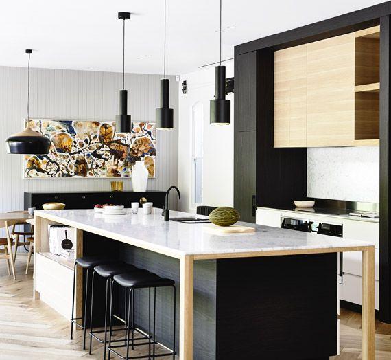 7 ideas para combinar tus muebles de cocina en dos colores - Mezclar colores para pintar paredes ...
