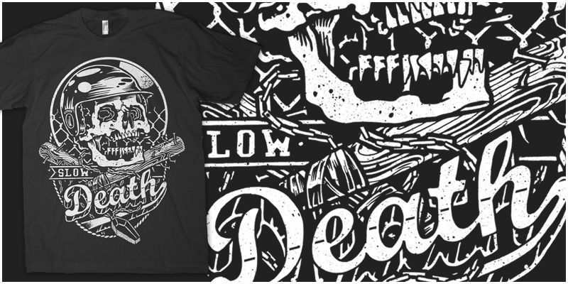 Shirt Design Places | Slow Death Batter Up T Shirt Design By Craig Robson Places To