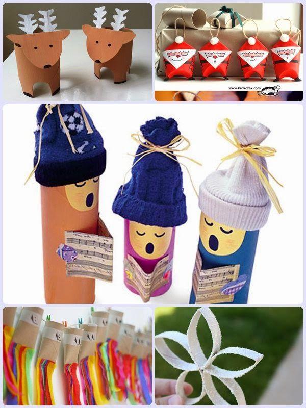 Manualidades con tubos de cart n para navidad christmas winter fun pinterest christmas - Manualidades con papel craft ...