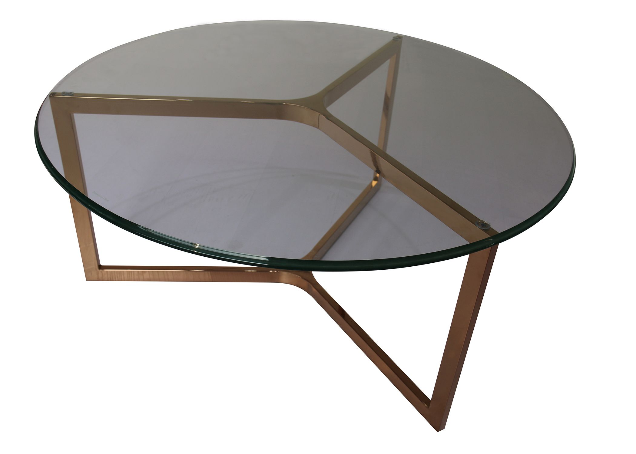 - Monza Round Coffee Table Glass Top In Rose Gold - NPD Round