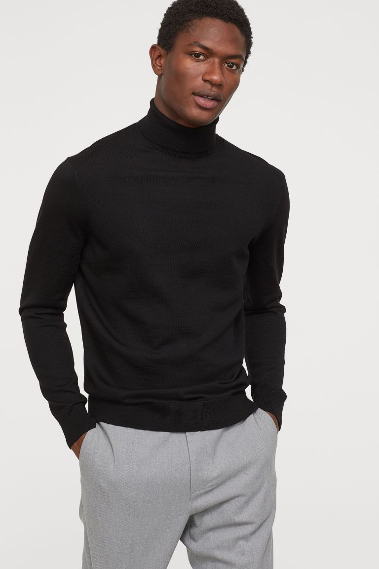 Pull en laine mérinos - Noir - HOMME | H&M FR in 2020 | Turtleneck outfit  men, Sweater outfits men, Black outfit men