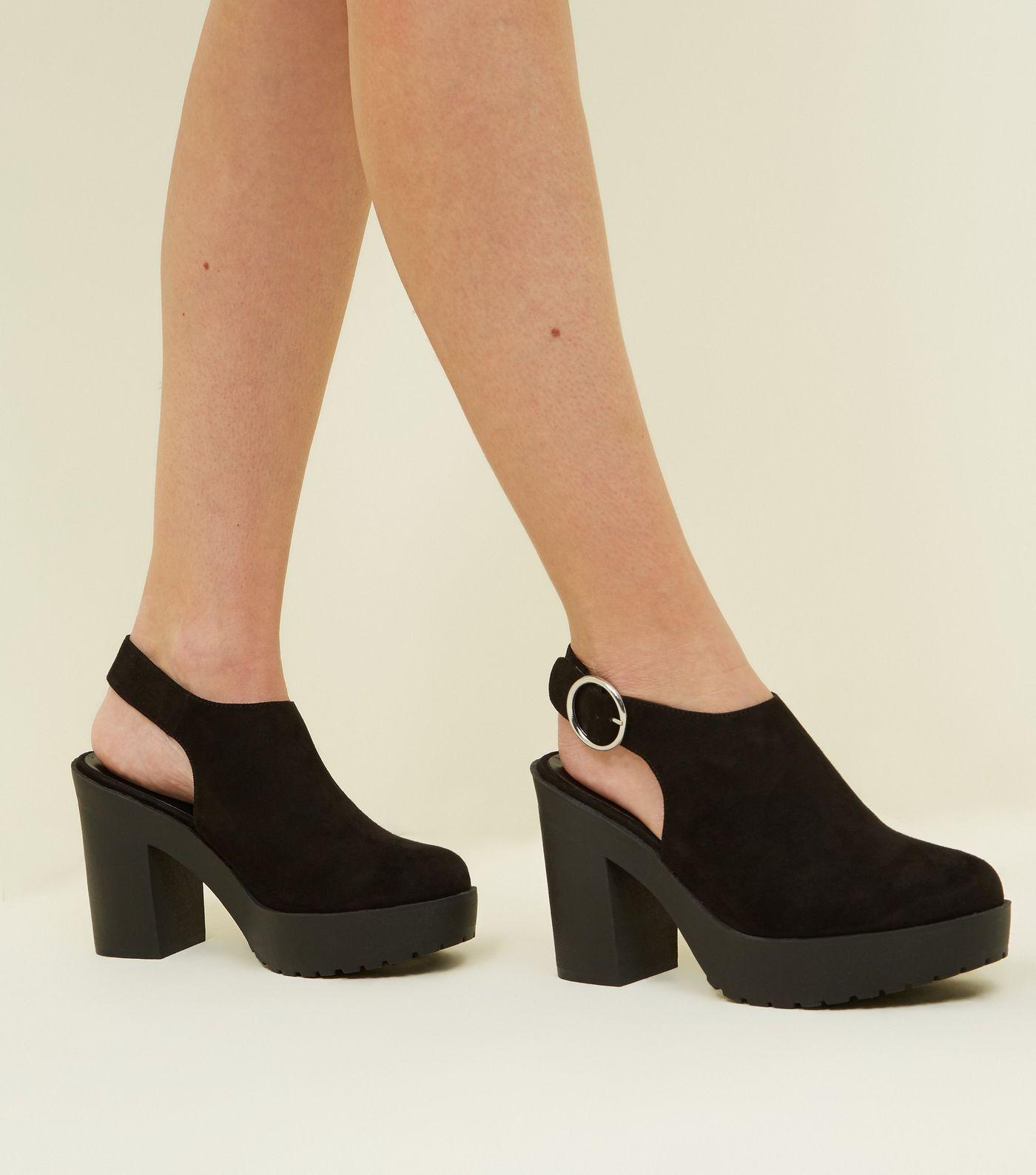 2217b2e5910 Black Suedette Chunky Slingback Heels in 2019
