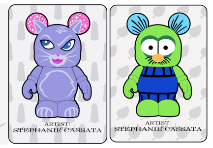 Two more Previews from the upcoming Vinylmation World Exclusive Custom Series- Love the purple kitty!!