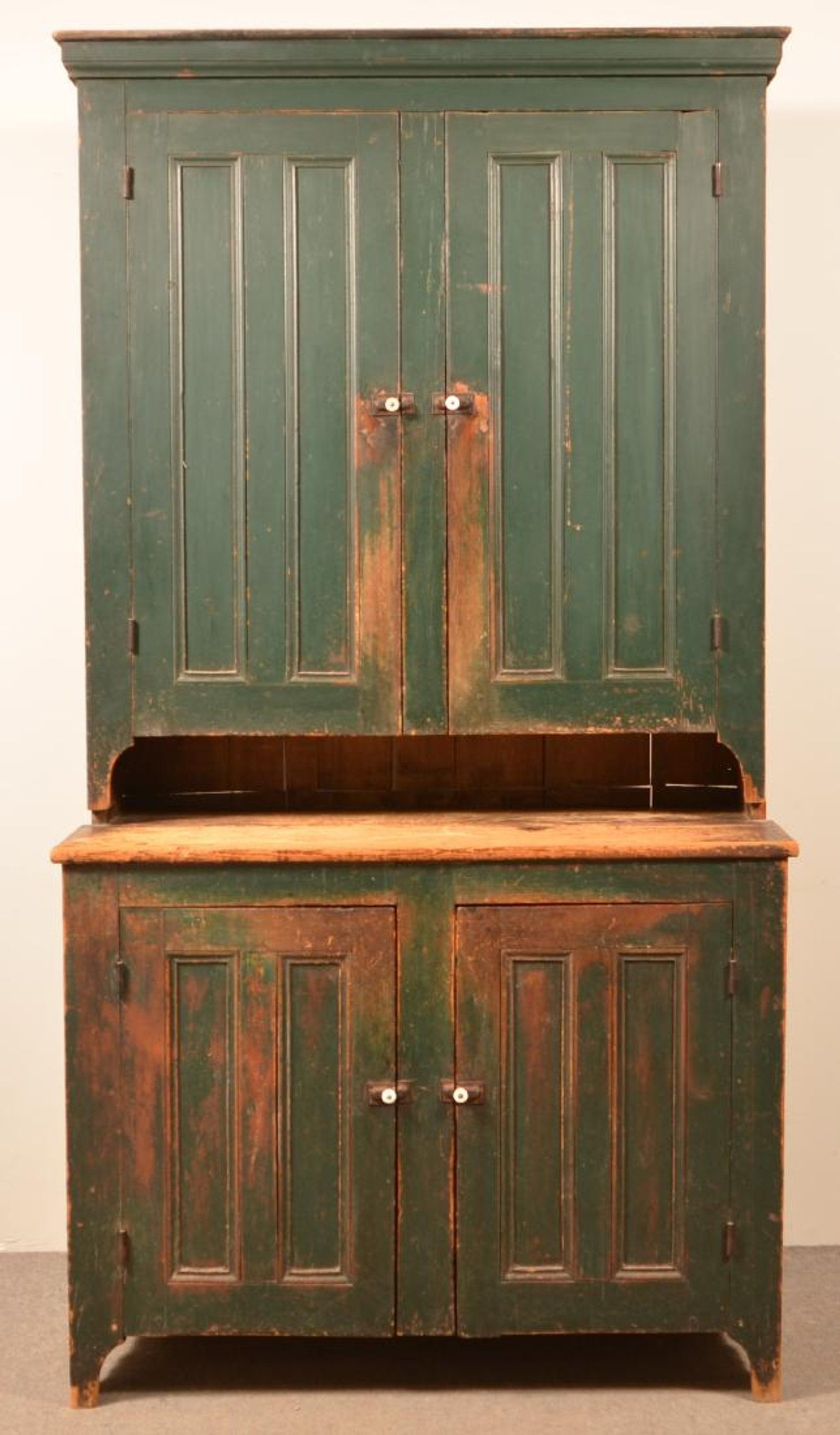 19th Century Softwood Two Part Step Back Kitchen Cupboard Original Green Paint 87 H X 47 1 2 W X 23 D Softwood Kitchen Cupboards Cupboard