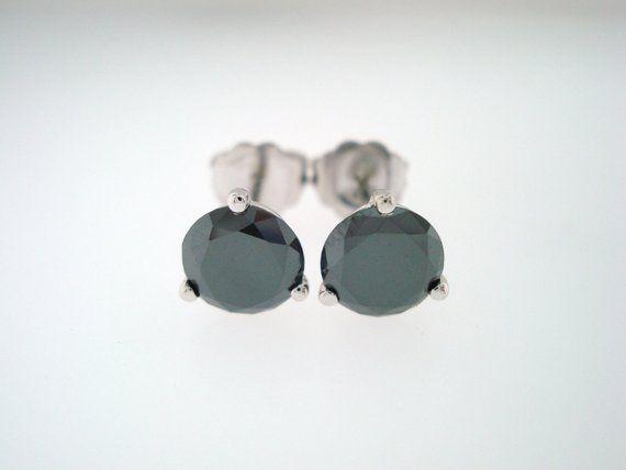 1 Carat Black Diamond Earrings Martini Stud 14k White Gold Handmade Certified