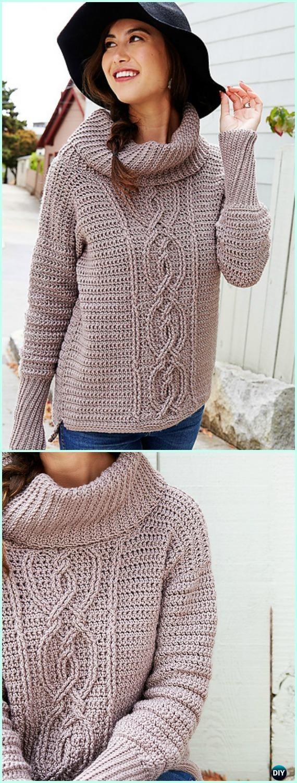 Crochet Entwined Chic Cable Sweater Free Pattern - Crochet Women ...