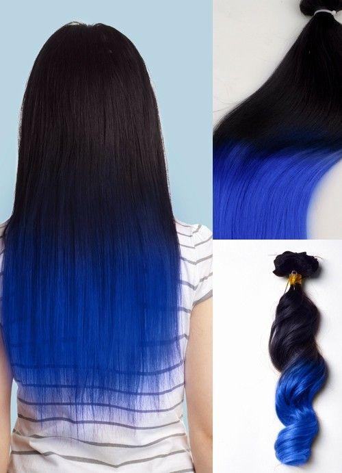Blue black ombre zuri pinterest black ombre hair color and blue black ombre blue black hair colorunique hairhair highlightshuman pmusecretfo Choice Image