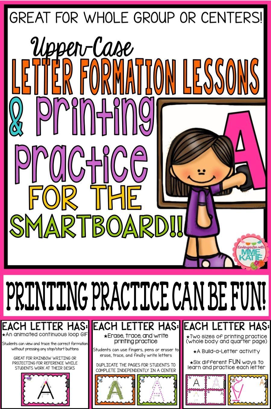 SmartBoard Letter Formation & SmartBoard Printing Practice for Upper ...