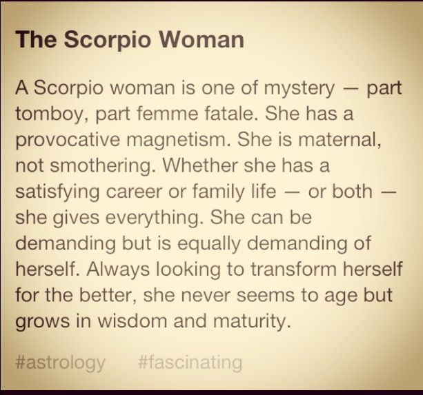 The Scorpio Woman-well    Not to toot my own horn, but this is