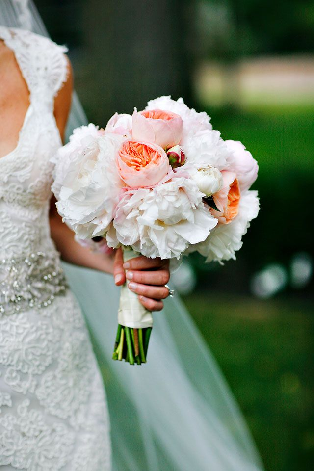 Peach Garden Rose Bouquet spring bouquet with white and blush peonies and juliet peach