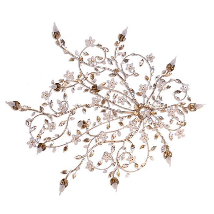 Ceiling lamp with diffused light. From a central medallion departing artistic iron climbing branches, with leaves finely modeled and polychrome flowers in original Swarovski crystals. Hand-painted by our Florentine artists.