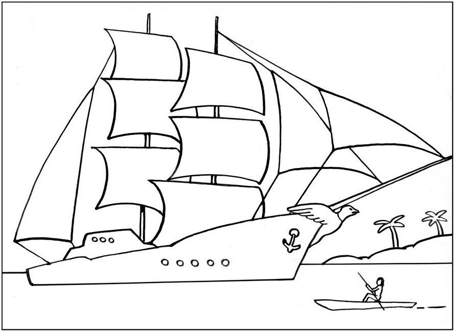 раскраска для мальчиков, корабль, лодка | Раскраски