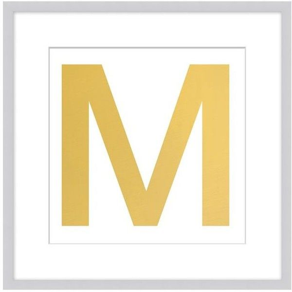 Pottery Barn Gold Leaf Letter Framed Print (425 BRL) ❤ liked on ...