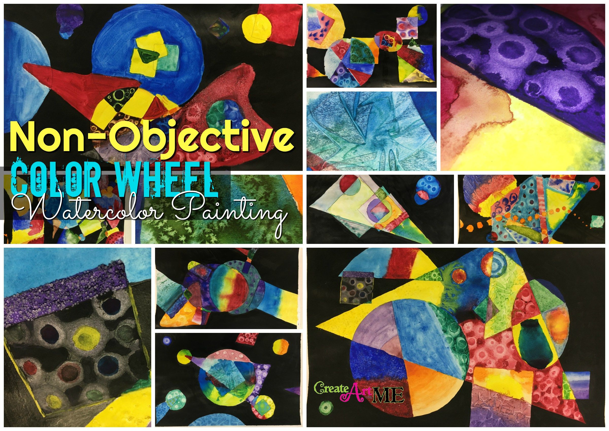 Non Objective Color Wheel Watercolor Lesson Watercolor Art