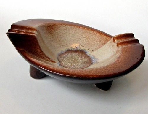 Vintage retro mid century heavy pottery ashtray