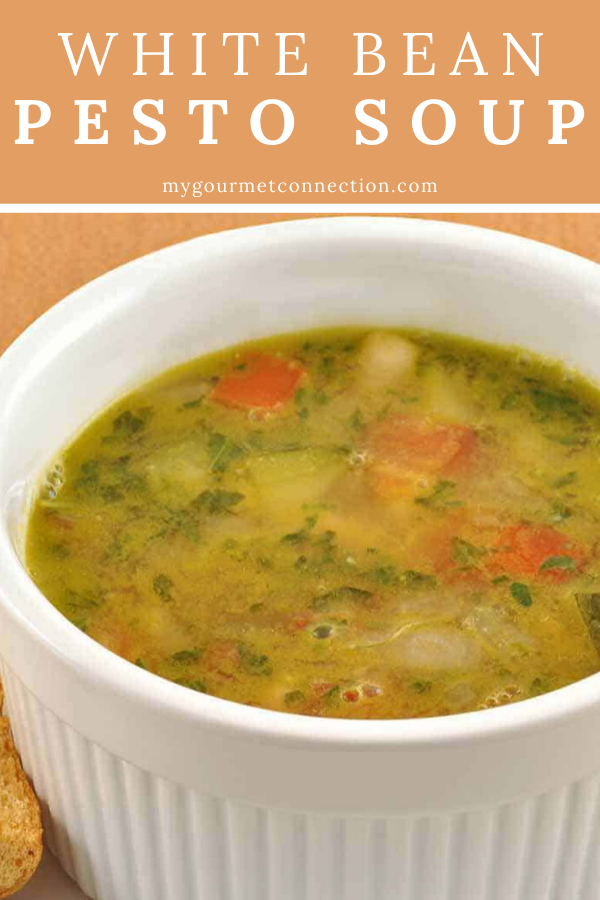 White BeanPesto Soup This quick and easy soup is made with cannellini beans garlic zucchini tomatoes and a pestostyle basil and garlic blend added just before serving for...