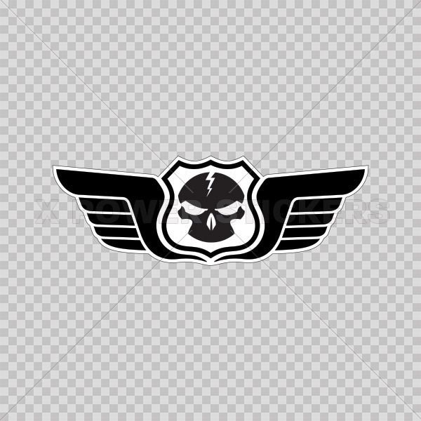 stickers decal skull wings emblem motorbike weatherproof sports car