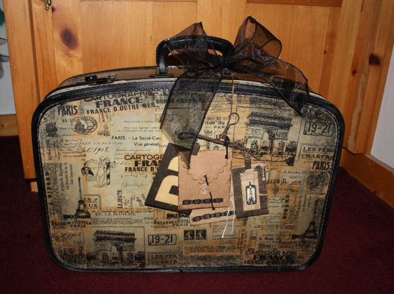 Vintage Altered Luggage Suitcase Decoupage  Paris  7 by pgray0604, $75.00