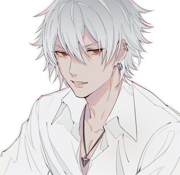 Short White Hair Red Eyes Jewelry Anime Guy Anime White Hair Boy White Hair Anime Guy Anime Guys Shirtless