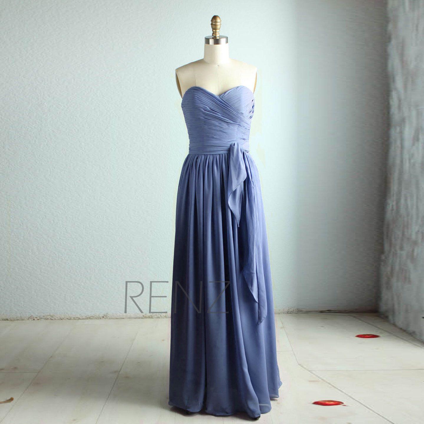 Long Strapless Bridesmaid Dress,Steel Blue Wedding Dress,Pleated ...