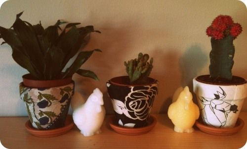 DIY Saturday: Fabric Covered Terracotta Pots