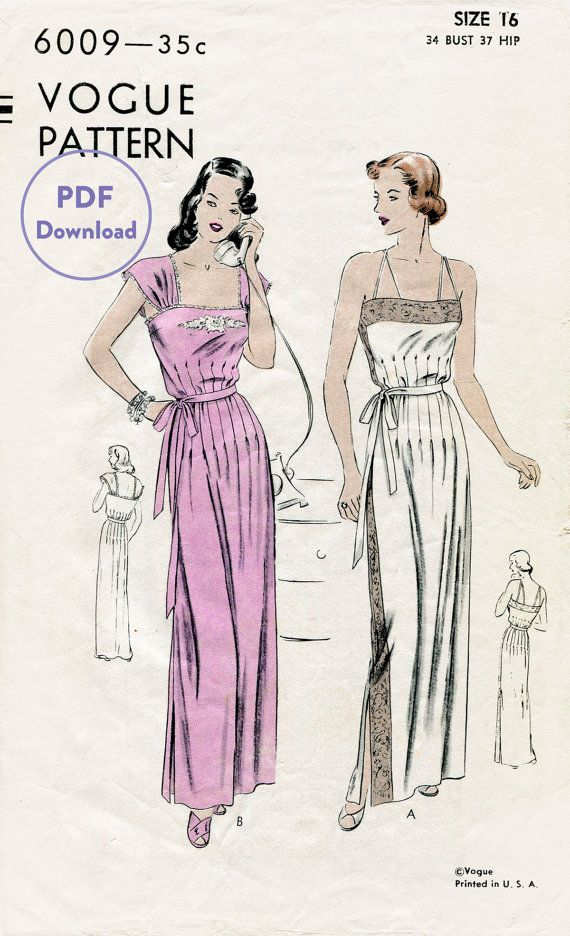 40s 1940s vintage lingerie sewing pattern lace gown negligee long ...