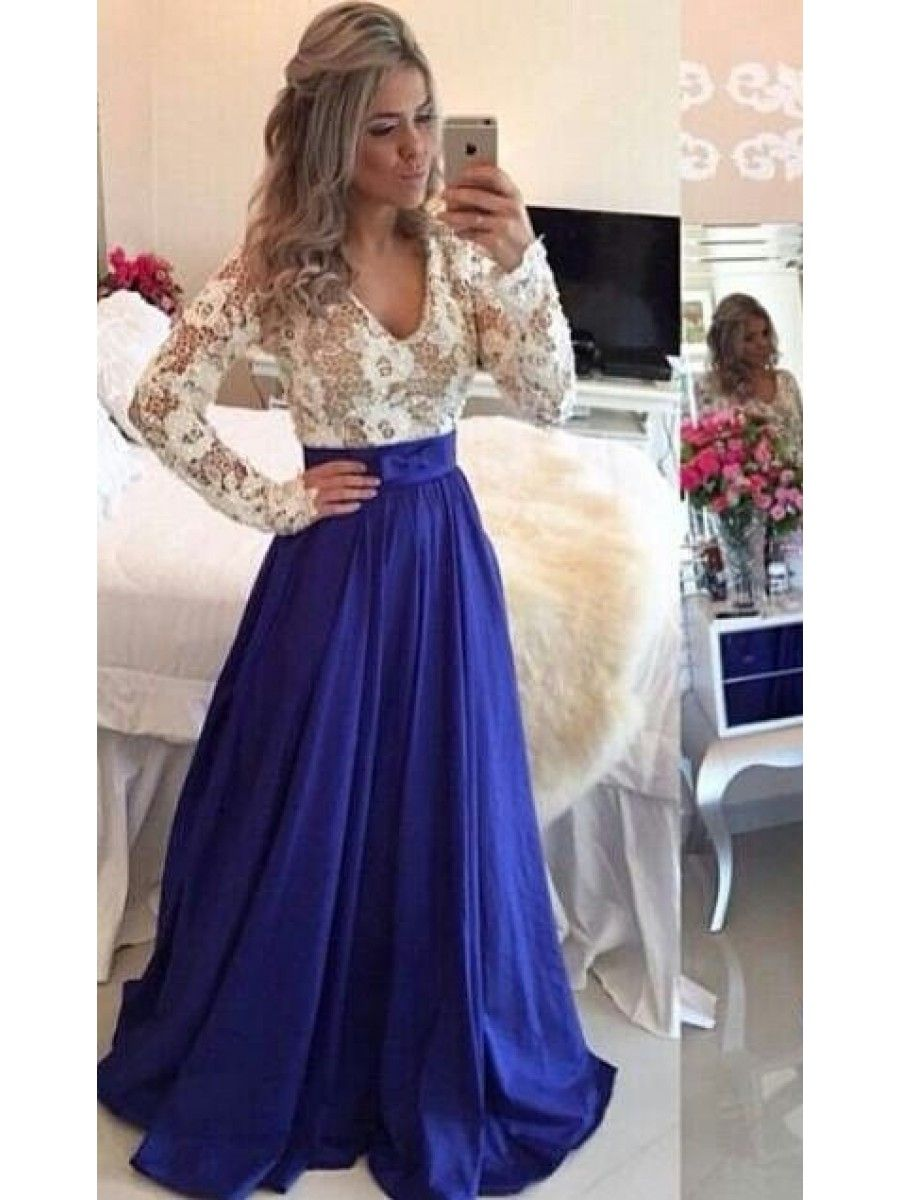 Royal Blue White Long Sleeves Prom Dresses Evening Gowns 99602203 ...
