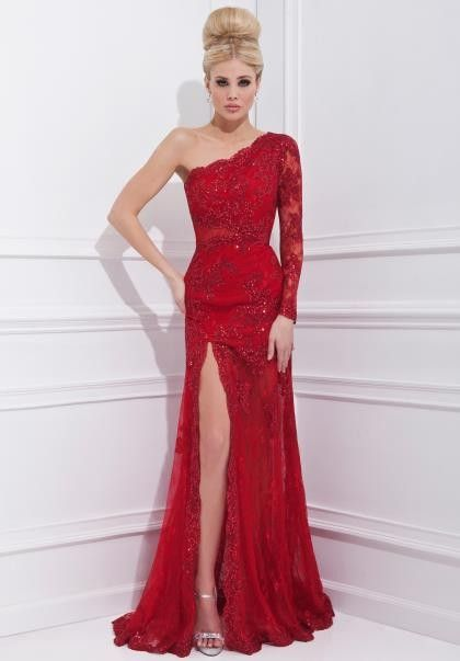 one shoulder fitted prom dresses
