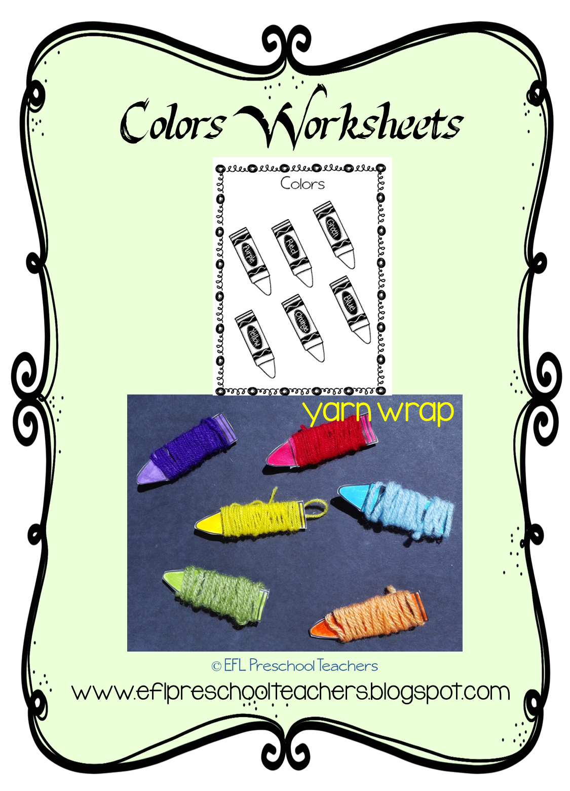 ESL Color Unit worksheets and then cut each crayon. Wrap them in ...