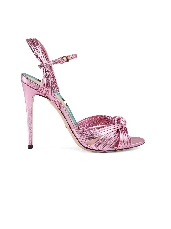 GUCCI Metallic Knot Sandal. #gucci #shoes #