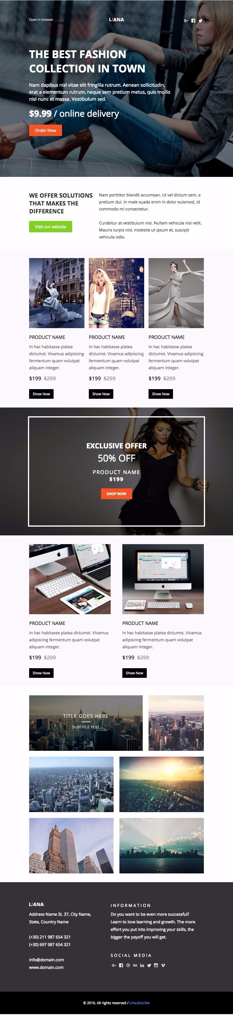 Responsive Liana E-mail template for promoting your eshop, products ...