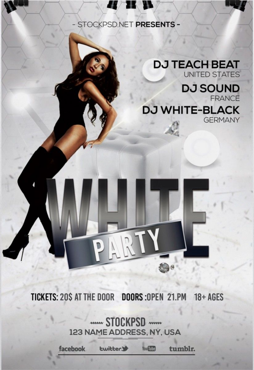 White Party Free Elegant Psd Photoshop Flyer Template Free Flyer
