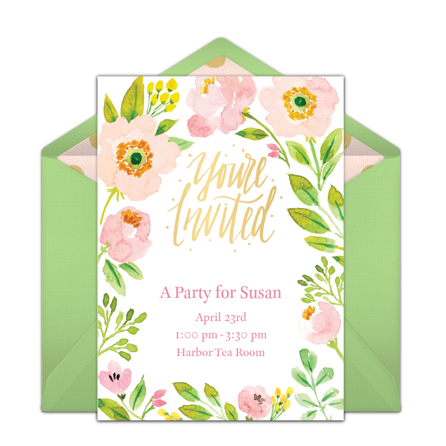 One Of Our Favorite Free Party Invitations Is This Beautiful Spring Blossoms Design Hand Painted Invitation Easy To Personalize And Send Via