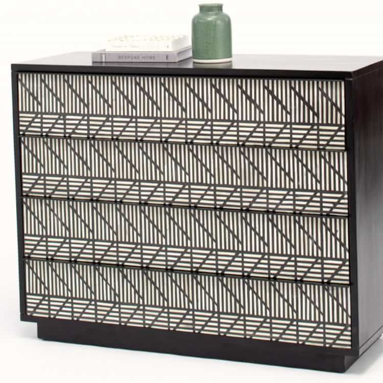 Bone Inlaid 4 Drawer Dresser Modern Furniture Home Decor Furniture